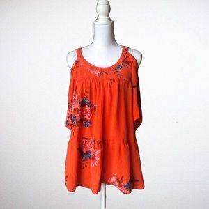 O'Neill Orange Floral Cold Shoulder Blouse Sz Sm